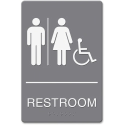 "HeadLine Restroom/Wheelchair Image Indoor Sign - 1 Each - Restroom (Man/Woman/Wheelchair) Print/Message - 6"" Width x 9"" Height - Rectangular Shape - Double-sided - Plastic - Gray, White"