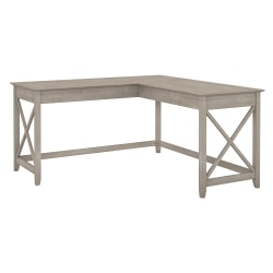 "Bush Furniture Key West 60""W L Shaped Desk, Washed Gray, Standard Delivery"