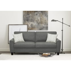"Serta® Astoria Deep-Seating Sofa, 78"", Dark Gray/Espresso"