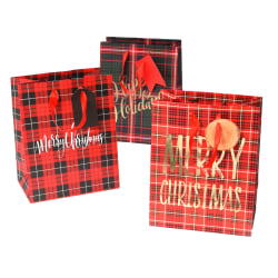 "Gartner Studios Medium Gift Bags, 7-1/2""H x 6""W x 3""D, Plaid, Set Of 3 Bags"