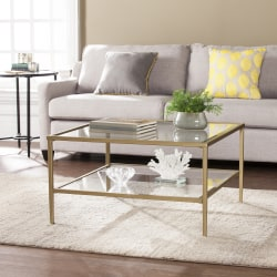 Southern Enterprises Keller Square Metal/Glass Open-Shelf Cocktail Table, Rectangular, Clear/Gold