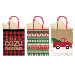 "Amscan Christmas Large Vertical Gift Bags, 11-1/4""H x 9-1/2""W x 4""D, Cozy, Pack Of 12 Bags"