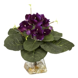 """Nearly Natural 12""""H Silk Gloxinia Plant With Glass Vase, Purple"""