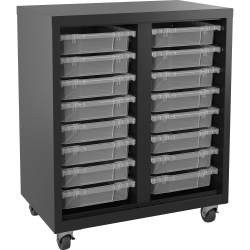 Lorell Pull-out Bins Mobile Storage Unit, Black/Clear