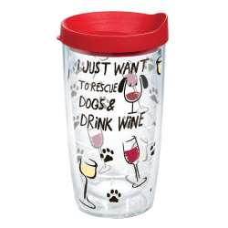 Tervis Project Paws Tumbler With Lid, I Just Want to Rescue Dogs & Drink Wine, 16 Oz, Clear/Red