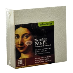 """Ampersand Artist Panel Canvas Texture Cradled Profile, 4"""" x 4"""", 1 1/2"""", Pack Of 2"""