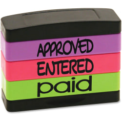 "U.S. Stamp & Sign Stamp Message Stack Set, ""APPROVED, ENTERED, PAID"", Assorted Colors"