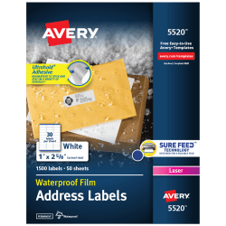 "Avery® WeatherProof™ Laser Address Labels With TrueBlock Technology, 5520, 1"" x 2 5/8"", White, Pack Of 1,500"