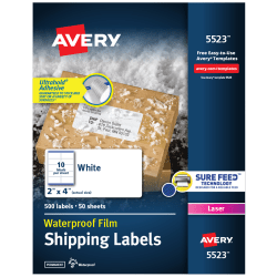 """Avery® Weatherproof™ Laser Mailing Labels With TrueBlock® Technology, 5523, 2"""" x 4"""", White, Pack Of 500"""