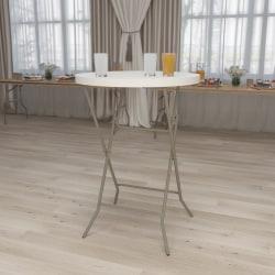 "Flash Furniture Round Plastic Bar Height Folding Table, 43-1/2""H x 31-1/2""W x 31-1/2""D, Granite White"