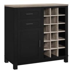 Ameriwood™ Home Carver Storage Cabinet/Buffet, 18 Cubbies/2 Shelves/2 Drawers, Black/Weathered Oak
