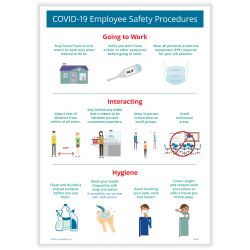 "ComplyRight™ Corona Virus and Health Safety Poster, COVID-19 Employee Safety Procedures, 10"" x 14"""