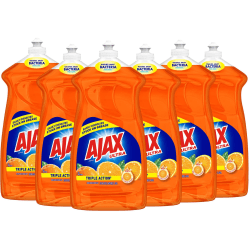 AJAX Triple Action Orange Dish Liquid - 52 fl. oz. Bottles - Liquid - 0.41 gal (52 fl oz) - 6 / Carton - Orange
