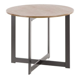 Lumisource Cosmopolitan Industrial End Table, Round, Walnut/Black