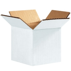 """Office Depot® Brand White Corrugated Cartons, 4"""" x 4"""" x 4"""", Pack Of 25"""