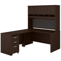 """Bush Business Furniture Components 60""""W L-Shaped Desk With Hutch And Mobile File Cabinet, Mocha Cherry, Standard Delivery"""
