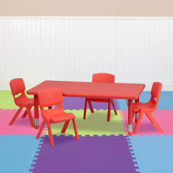 "Flash Furniture Rectangular Plastic Height-Adjustable Activity Table With 4 Chairs, 23-3/4""H x 24""W x 48""D, Red"