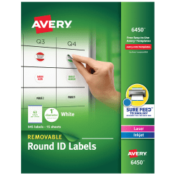 "Avery® Removable Round Multipurpose Labels, 6450, 1"" Diameter, White, Pack Of 945"