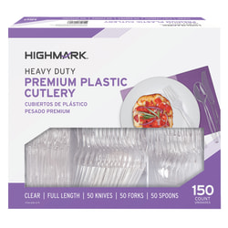 Highmark® Heavy-Duty Plastic Cutlery, Premium, Clear, Pack Of 150 Utensils