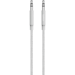 Belkin MIXIT↑ Metallic AUX Cable - 4 ft Mini-phone Audio Cable for Audio Device, Speaker, Smartphone, Tablet, Stereo Receiver - First End: 1 x Mini-phone Male Stereo Audio - Second End: 1 x Mini-phone Male Stereo Audio - Silver