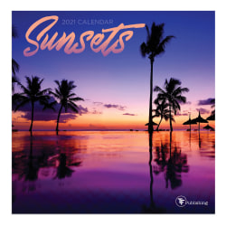 """TF Publishing Scenic Mini Monthly Wall Calendar, 7"""" x 7"""", Sunsets, January To December 2021"""