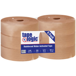 "Tape Logic® Reinforced Water-Activated Packing Tape, #7500, 3"" Core, 3"" x 300 Yd., Kraft, Case Of 6"