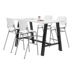 """KFI Midtown Bistro Table With 4 Stacking Chairs, 41""""H x 36""""W x 72""""D, Designer White/White"""