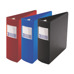 """Stride® Heavy-Duty 3-Ring Binder,3"""" Round Rings, 43% Recycled, Red"""