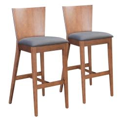 Zuo Modern® Ambrose Bar Chairs, Gray/Walnut, Set Of 2 Chairs