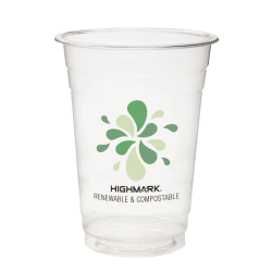 Highmark® Plastic Cups, Compostable, 16 Oz, Clear, Pack Of 50