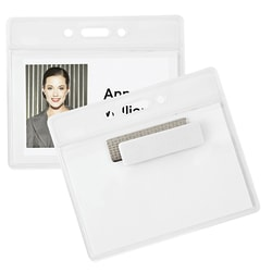 """Office Depot® Brand Magnet Badge Holders, 3 1/2"""" x 2 3/8"""", Clear, Pack Of 4"""