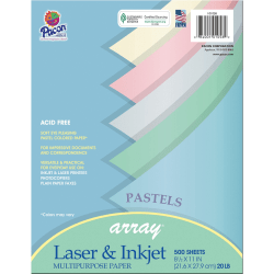 "Pacon® Bond Paper, Letter Size (8 1/2"" x 11""), 20 Lb, Assorted Pastel Colors, Ream Of 500 Sheets"