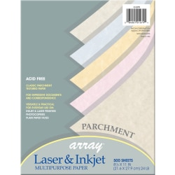 """Pacon® Parchment Paper, Letter Size (8 1/2"""" x 11""""), Assorted Colors, Ream Of 500 Sheets"""
