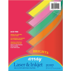 """Pacon® Bond Paper, Letter Size (8 1/2"""" x 11""""), 24 Lb, Assorted Bright Colors, Ream Of 500 Sheets"""