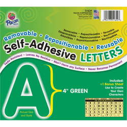 """Pacon Reusable Self-Adhesive Letters - (Uppercase Letters, Number, Punctuation Marks) Shape - Self-adhesive - Acid-free, Fadeless - 4"""" Length - Puffy Font - Green - 1 / Pack"""