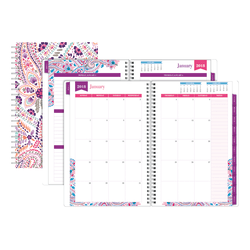 """Office Depot® Brand Weekly/Monthly Planner, 8"""" x 11"""", Boho Floral, January to December 2018"""