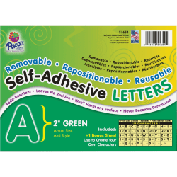 """Pacon® Self-Adhesive Letters, 2"""", Green, Pack Of 159"""