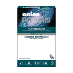 "Boise POLARIS® Premium Laser Cover Paper, Ledger Size (11"" x 17""), 24 Lb, FSC® Certified, Ream Of 500 Sheets"