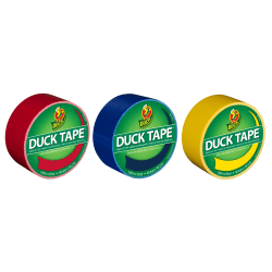 "Duck® Brand Color Duct Tape Rolls, 1-15/16"" x 60 Yd, Primary Colors, Pack Of 3 Rolls"