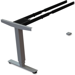 Lorell® Quadro Electric Sit-To-Stand Desk 3-Tier Third Leg, Silver
