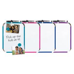 """FORAY™ Magnetic Dry-Erase Whiteboard, 8 1/2"""" x 11"""", Assorted Whiteboard Colors (No Color Choice), Aluminum Frame With Silver Finish"""