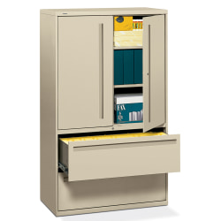 "HON® Brigade® 700 Combo 42""W Lateral 2-Drawer File Cabinet, Metal, Putty"