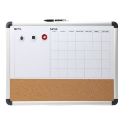 "FORAY™ 3-in-1 Magentic Cork/Dry-Erase/Calendar/Planning Board, Cork/Steel, 18"" x 24"", White Board, Silver Aluminum Frame"