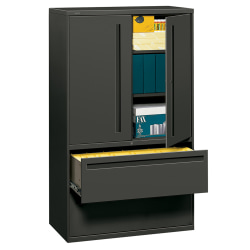 """HON® Brigade® 700 42""""W Lateral 2-Drawer Combo File Cabinet, Metal, Charcoal"""