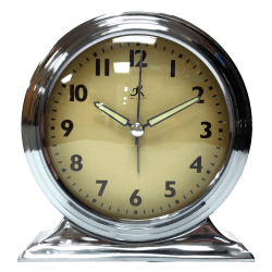 """Infinity Instruments Boutique Tabletop Alarm Clock, 6""""H x 6""""W x 2 1/2""""D, Silver"""