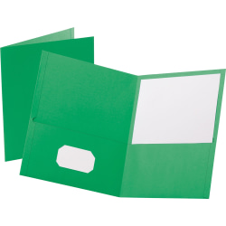 "Oxford™ Twin-Pocket Portfolios, 8 1/2"" x 11"", Green, Pack Of 25"