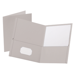 "Oxford™ Twin-Pocket Portfolios, 8 1/2"" x 11"", Gray, Pack Of 25"