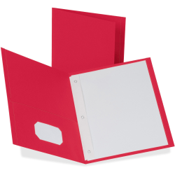 """Oxford™ Twin-Pocket Portfolio With Fasteners, 8 1/2"""" x 11"""", Red, Pack Of 25"""