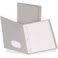 "Oxford Twin Pocket 3-hole Fastener Folders - Letter - 8 1/2"" x 11"" Sheet Size - 3 Fastener(s) - 1/2"" Fastener Capacity for Folder - 2 Inside Front & Back Pocket(s) - Leatherette Paper - Gray - Recycled - 25 / Box"