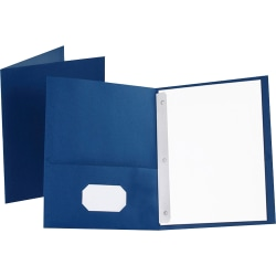 """Oxford™ Twin-Pocket Portfolio With Fasteners, 8 1/2"""" x 11"""", Blue, Pack Of 25"""